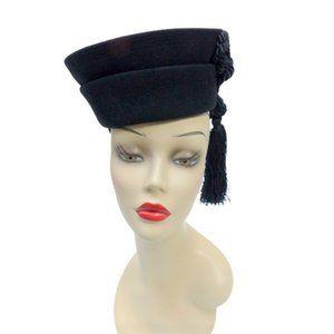 1940s New York Creation Black Toque Tilt Hat Adjustable Size Long Tassel
